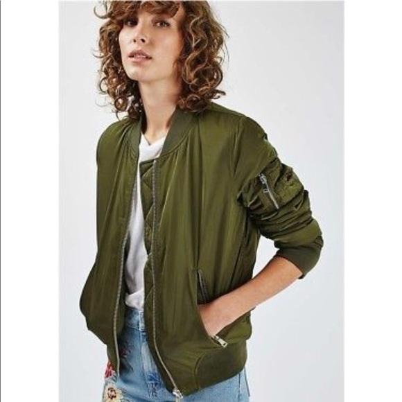 d679d20ef Topshop women's Military green bomber jacket